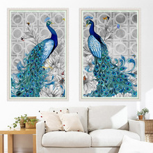 32*45cm 5D Diamond Embroidery DIY Beautiful Blue Peacock Pictures Diamond Mosaic Needlework Cross Stitch Kits Home Decoration
