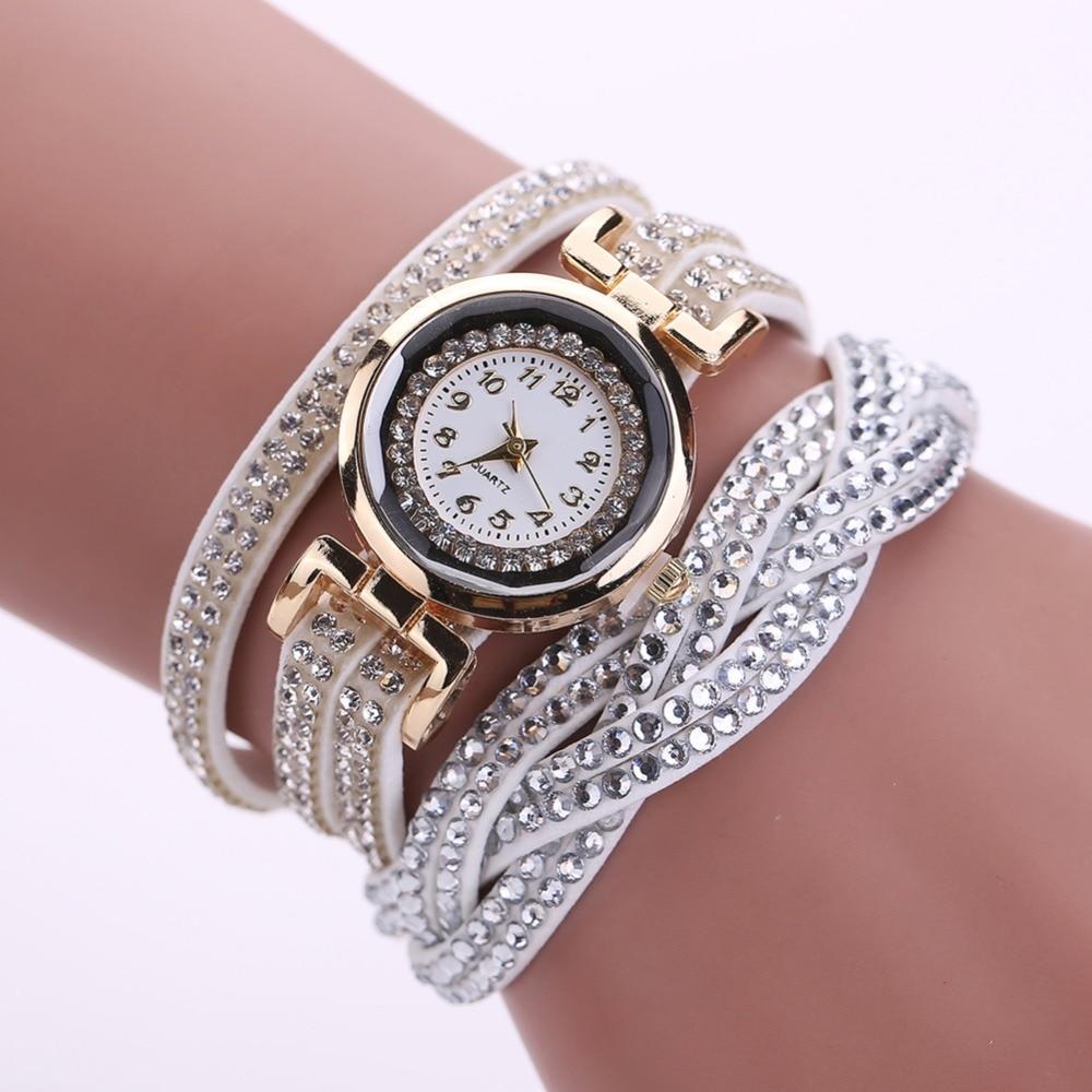 2017 new luxury bracelet watch women casual quartz watch rhinestone pu leather ladies dress for Women casual watches