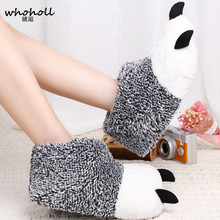 WHOHOLL Winter Warm man women Home slippers Animal panda Paw Plush Slippers female Thermal Soft Cotton indoor house shoes one size winter warm lovely animal panda slippers home for men