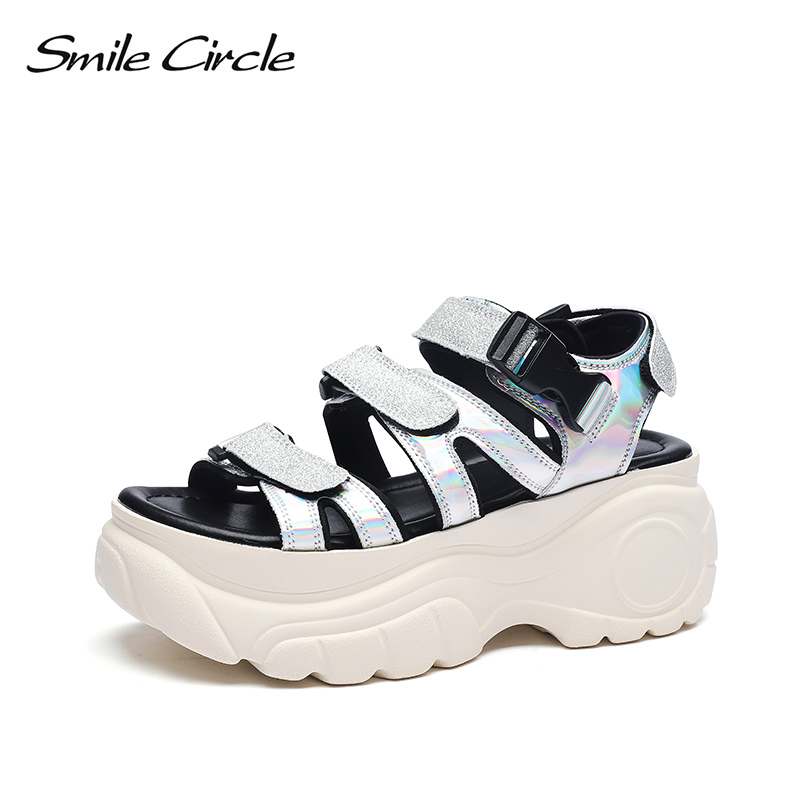 Sandals Women Flat-Platform-Shoes Silver Fashion Casual Smile-Circle