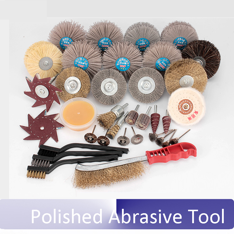 professional Thuja Root carving Wood carving Polished flower head Nylon abrasive Polishing Wire brush Tool sets