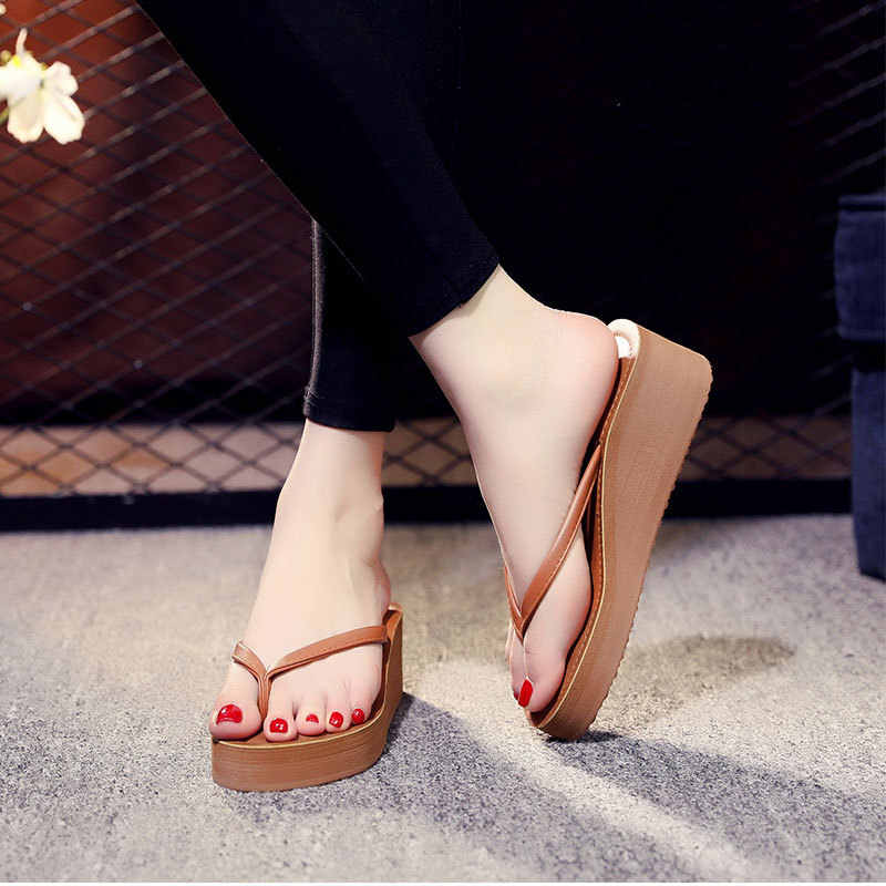 Ipomoea النساء شاطئ الوجه يتخبط 2019 الصيف أحذية منصة امرأة الموضة أسافين النعال الإناث صندل كاجوال الشرائح SH041402