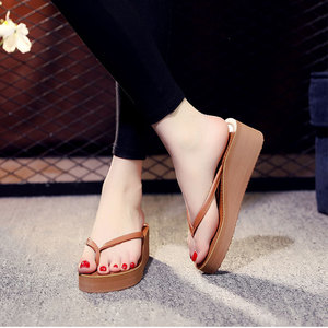 Image 4 - Ipomoea Women Beach Flip Flops 2020 Summer Platform Shoes Woman Fashion Wedges Slippers Female Casual Sandals Slides SH041402