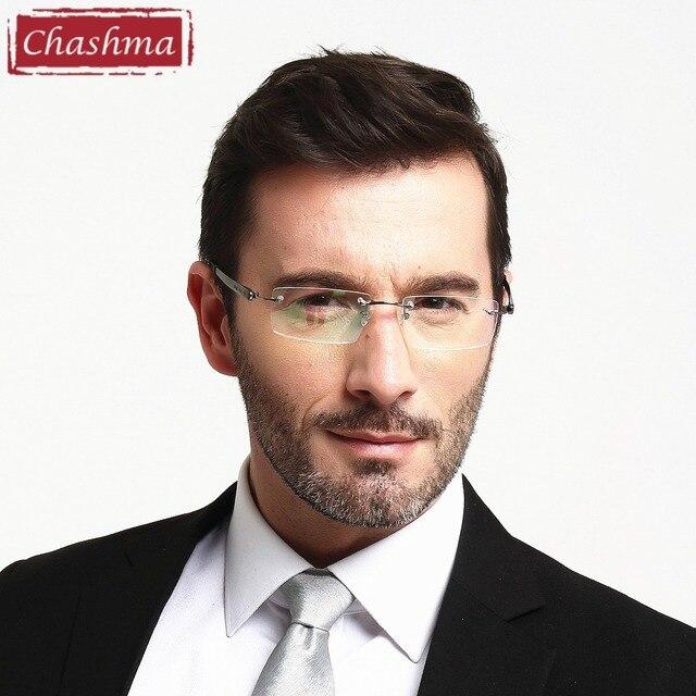 1555fc37b4cfc Chashma Marca de Óculos Dos Homens Óculos Frame Ótico Sem Aro Leve de  Titânio Puro Armações