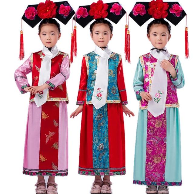 2f90191fa New Embroidery Girl Qing Dynasty Princess Costume Children Hanfu ...