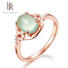 Bague Ringen Prehnite Natural Gemstone Oval Green Rose Gold Women Rings Fine Jewelry 925 Silver  Charm