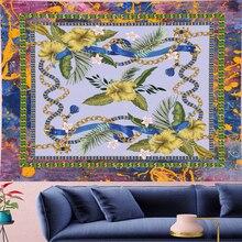 купить Psychedelic Style Mandala Pattern Tapestry Vintage Pattern yellow Flower Retro Wall Hanging Bohemian Home Decor Art Wall Carpets по цене 729.47 рублей