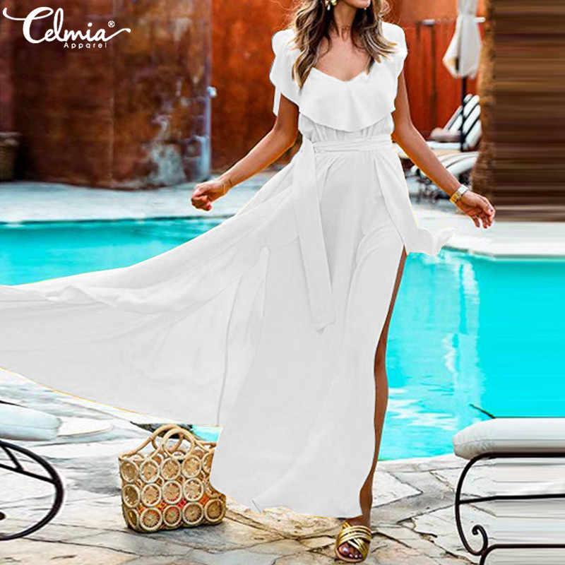 Женское летнее платье размера плюс в богемном стиле, сексуальное платье без рукавов с v-образным вырезом, длинное платье макси с поясом, vestidos mujer 2019