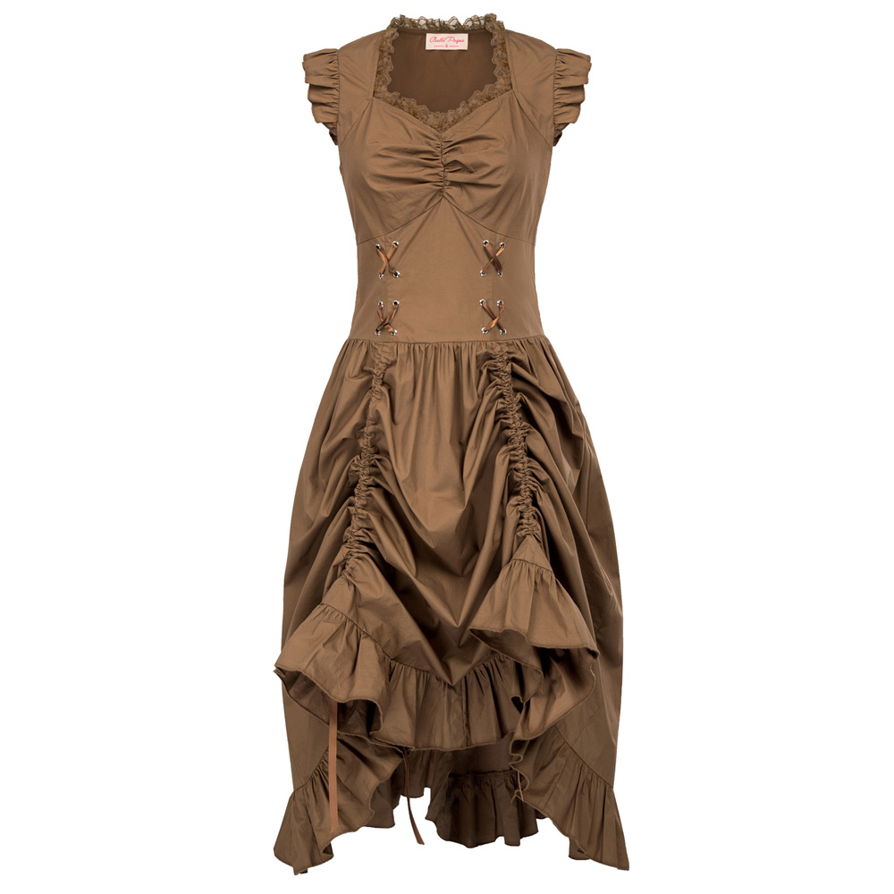 Belle Poque Women Sleeveless V-Neck Lace-up Corset Ruffle Dress 2018 Retro Vintage Steampunk Black Punk Gothic Victorian Dress 18