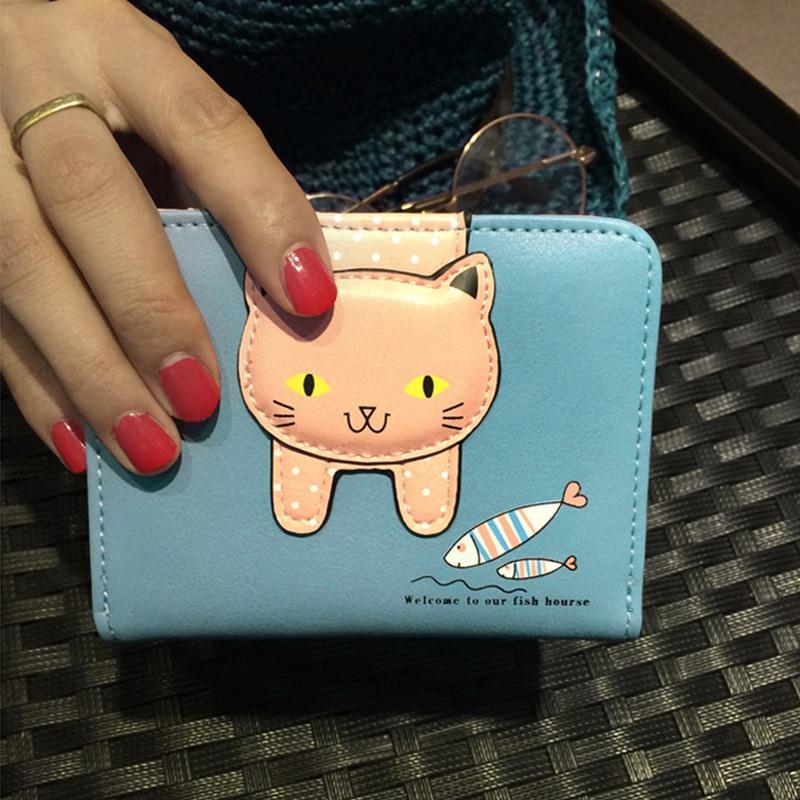 Women Wallet Coins Purse Leather Bag Female Purse Sweet Cat Pattern Zipper Women Small Wallet For Girls Card Holder Money Bag