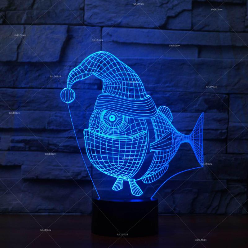 Christmas Fish 3d Led Nightlight Novelty Creative Products Export Led Night Light Luminaria Usb Led 3d Light Fixtures|LED Night Lights| |  - title=