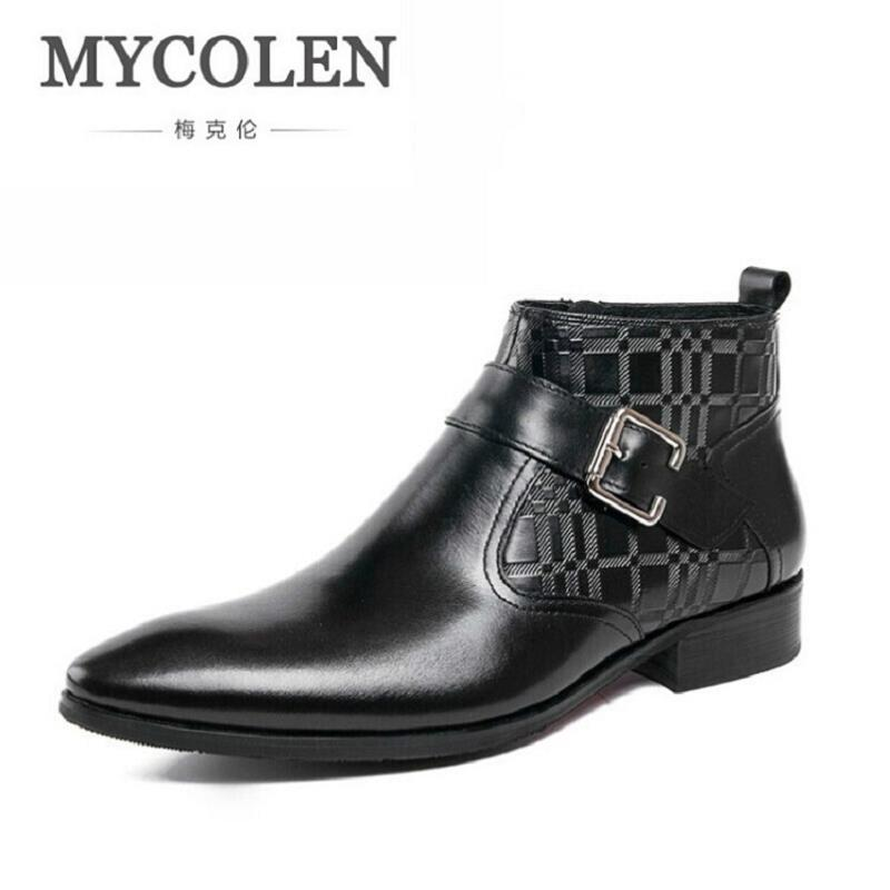 MYCOLEN New Arrival Classic Ankle Boots Vintage Style Black Leather Side Zipper Motorcylcle Boots Men Gentlemen Shoes WinterMYCOLEN New Arrival Classic Ankle Boots Vintage Style Black Leather Side Zipper Motorcylcle Boots Men Gentlemen Shoes Winter