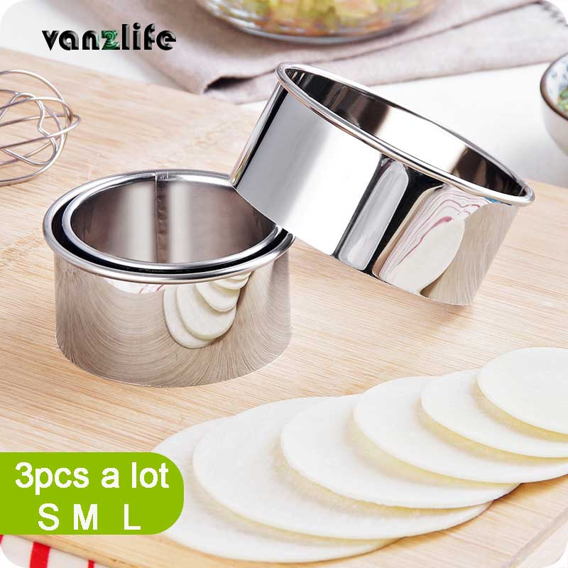 Vanzlife Stainless Steel Cut Dumplings Skin Mold Kitchen Wrappers Round Cookie Pastry Baking Utensils Cutting Maker Three-piece