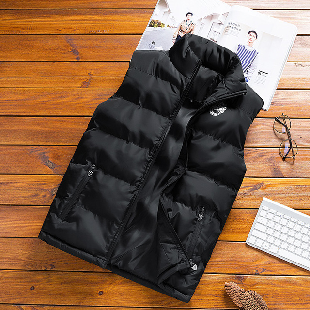 JUNGLE ZONE 2018 new men's sleeveless cotton jacket winter warm vest men's casual vest men's warm jacket