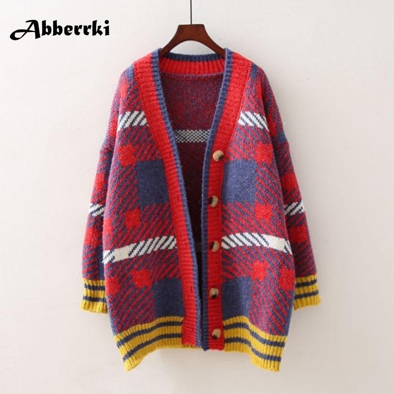 Осенний свитер свободные корейский Средний Длина с длинным рукавом V воротник вязаный Свитер в полоску кардиганы Для женщин Перемычка тянуть Femme