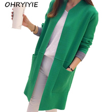 OHRYIYIE Women Sweater Long Cardigan 2018 New Fashion Autumn Winter Long Sleeve Loose Knitted Cardigan female Sweaters Long Coat(China)