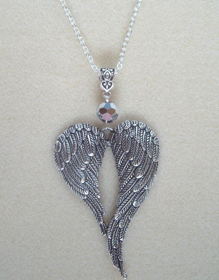 Large Guardian Angel Wings Silver Crystal Necklace-Charm Pendant Jewelry Vintage Silver Statement Sweater Chain Necklace Q27