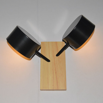 Nordic post-modern simple personality bedroom Hotel bedside aisle double head solid wood LED wall lamp