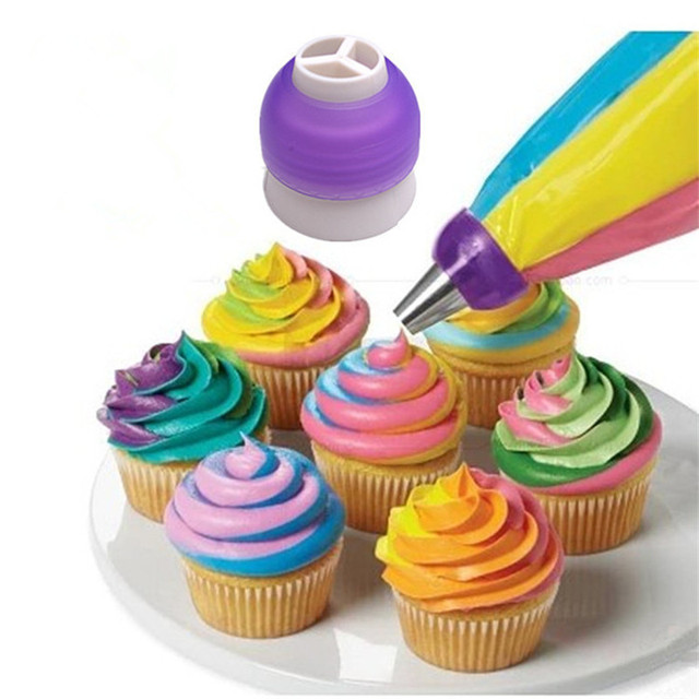 Icing Piping Bag Nozzle Tri-Colour Converter