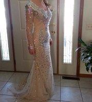 Favordear New Arrival Mermaid Evening Dress Huge Beading Long Sleeve Double V Neck Women Formal Long Prom Dress