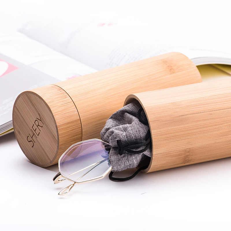 Fashion Men Women Round Bamboo Sunglasses Eye Glasses Holder Box Case Cover Wood Sun Glasses Box Spectacle Eyeglasses Case