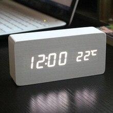 New Design Electronic Relogio Digital Desperatdor Temperature Acoustic Control Sensing LED Alarm Clock Desktop Clocks Decor