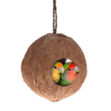 Natural Coconut Shell Pet Parrot Toy Bird Nest Dispenser Food Feeding Hiding Cave Parrots Hanging House