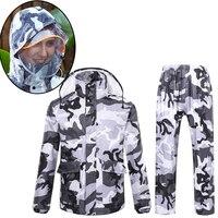 Yesello Camouflage Raincoat Women Camping Waterproof Rainwear Suit Women Raincoat Thickened Waterproof Rain Coat