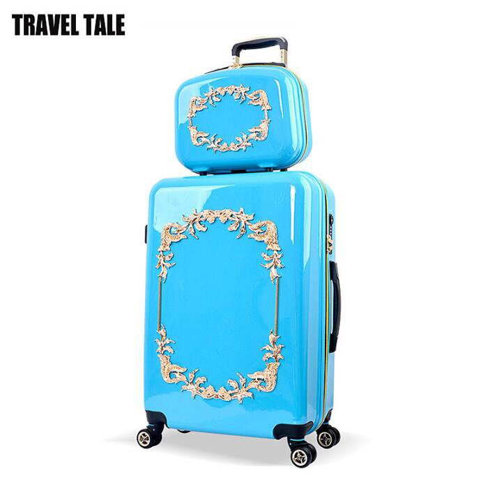 Cosmetic-Bag Suitcase Trolley Bagages Valises Hardside Travel Tale 24inch for Blue