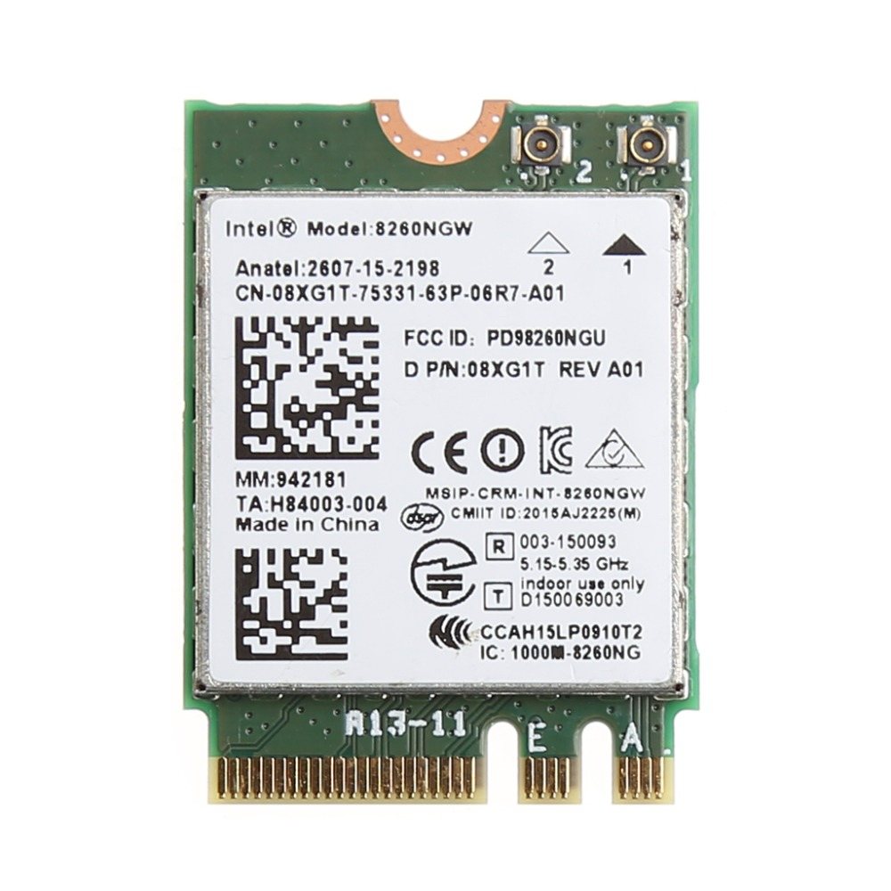 2.4+5GHZ 867M Bluetooth V4.2 NGFF M.2 WLAN Wifi Wireless Card <font><b>Module</b></font> For Intel 8260 AC for DELL 8260NGW DP/N 08XJ1T C26 image