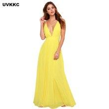 6a5006f0ec1 UVKKC стиль спинки платья для женщин Sexy Глубокий V средства ухода за  кожей Шеи Cross Back Высокая талия сплошной желтый платье.