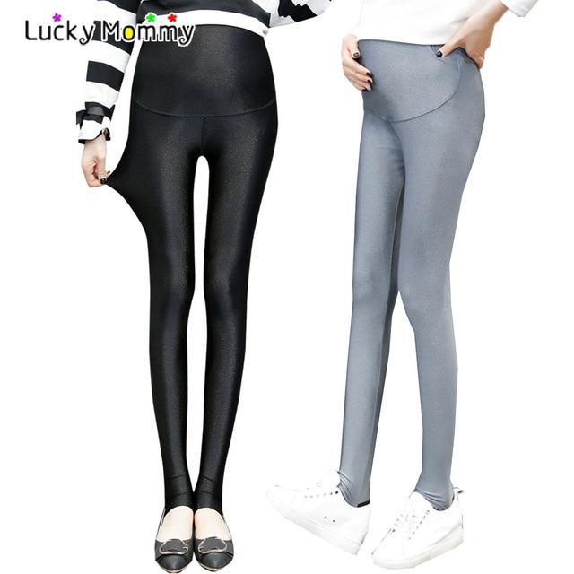 Cor sólida Brilho Abdominais calças Barriga Cuidados de Maternidade Leggings Cintura Alta Calças Roupas Confortáveis para Mulheres Grávidas Gravidez