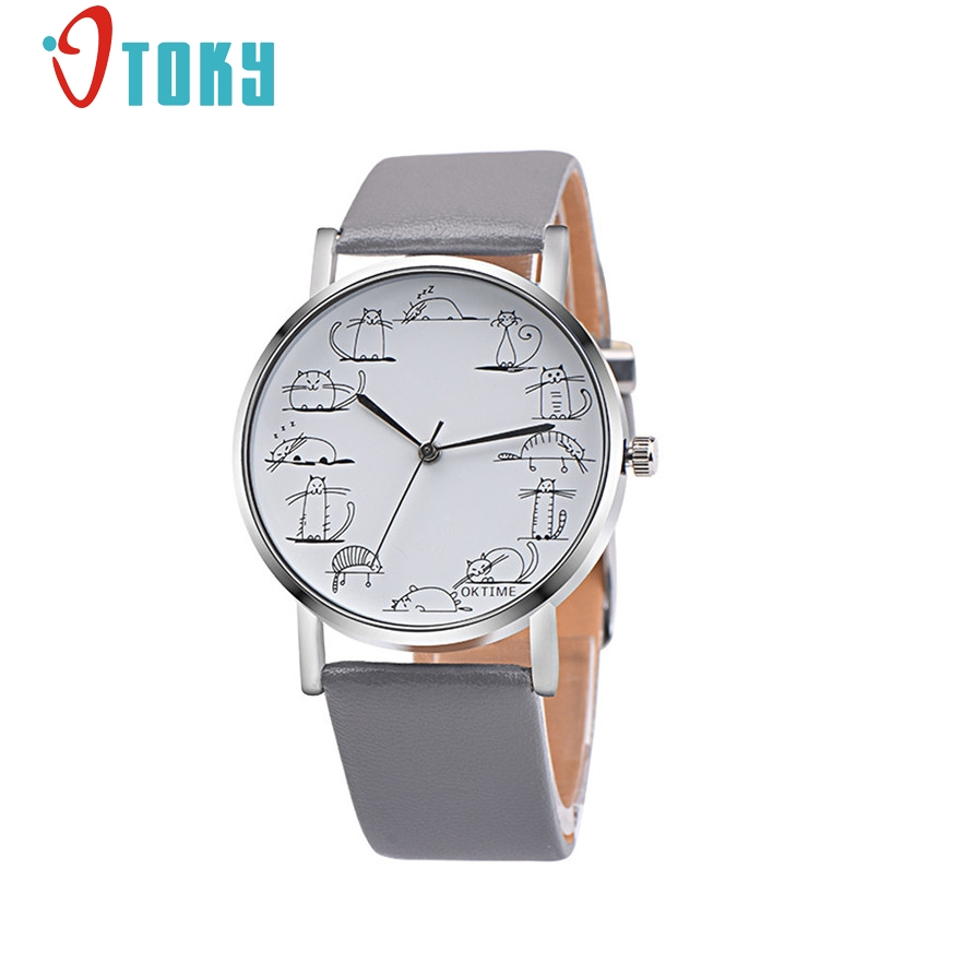 OTOKY ladies watch Retro Lovely Cartoon Cat Leather Band Analog Quartz Wrist Watch for women relogio feminino #30 Gift 1pc hot new fashion quartz watch women gift rainbow design leather band analog alloy quartz wrist watch clock relogio feminino