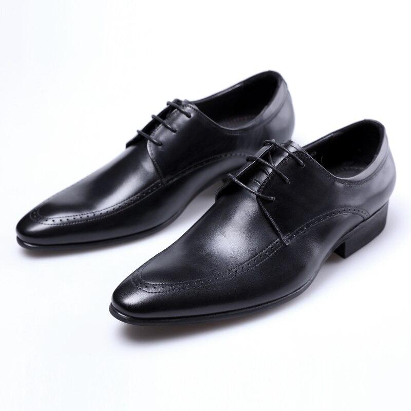 Hombre Puntiagudo Para Boda negro Genuino black De Pie Nuevo Cuero Tan Brown Zapatos Vestir Derby Negocios Del 2018 Dedo Hombre Marrón tqxBPCwa