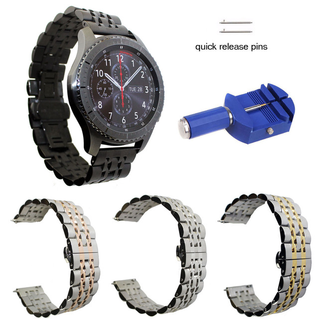 7 Beads Stainless Steel Metal Strap for Samsung Galaxy Gear S3 Frontier R760 S3