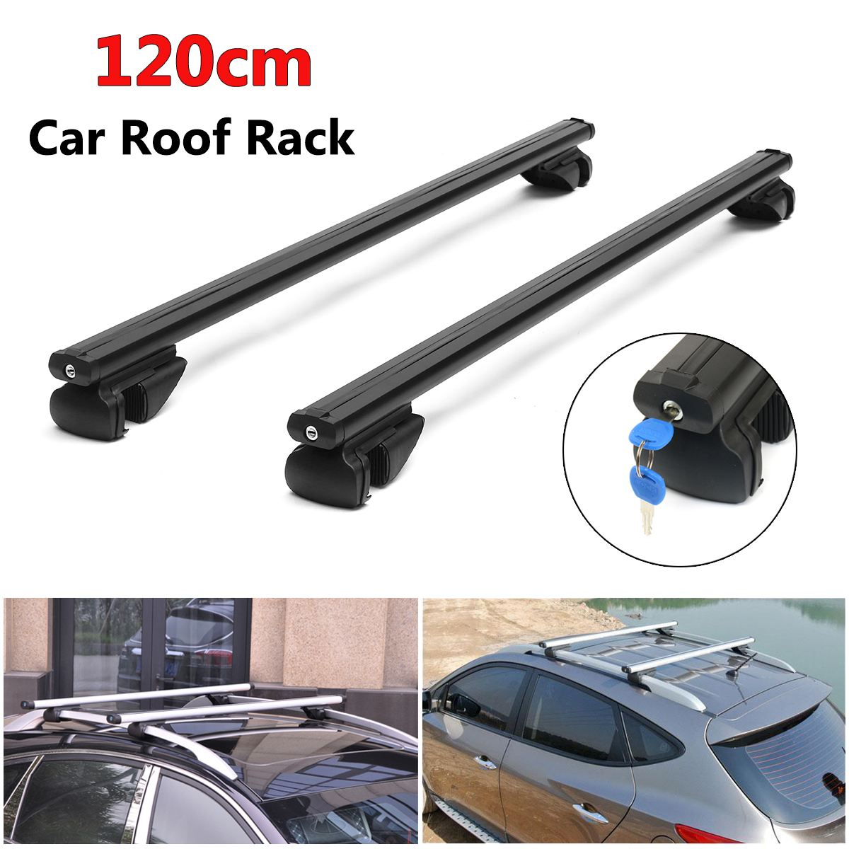 120cm 2Pcs Aluminum Car Top Roof Cross Bars Luggage Cargo Carrier Rack Lockable Universal