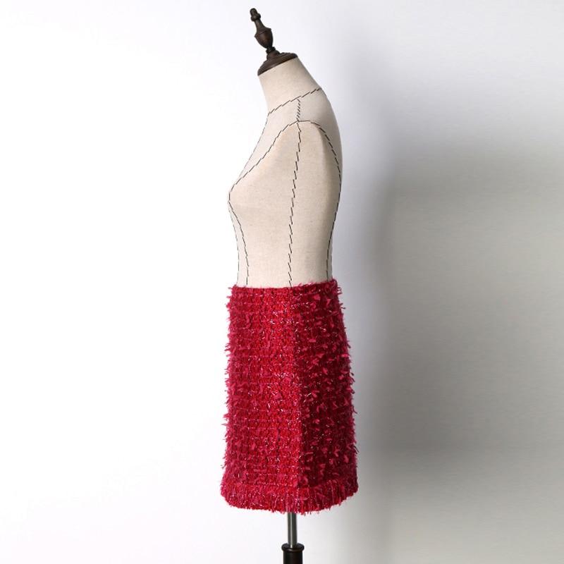 Fashion Korean Style Elegant Office Lady Tweed Skirt  Autumn 2018 Women Pearl Tassel Design High Waist A Line Mini Winter Skirt