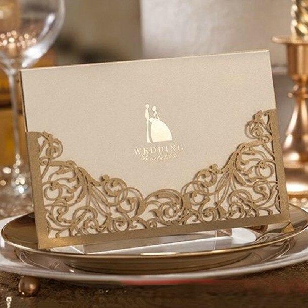 2014 Elegant Champagne Wedding Invitations Laser Cut Flower Convite De Casamento Free Personalized Printing Envelope