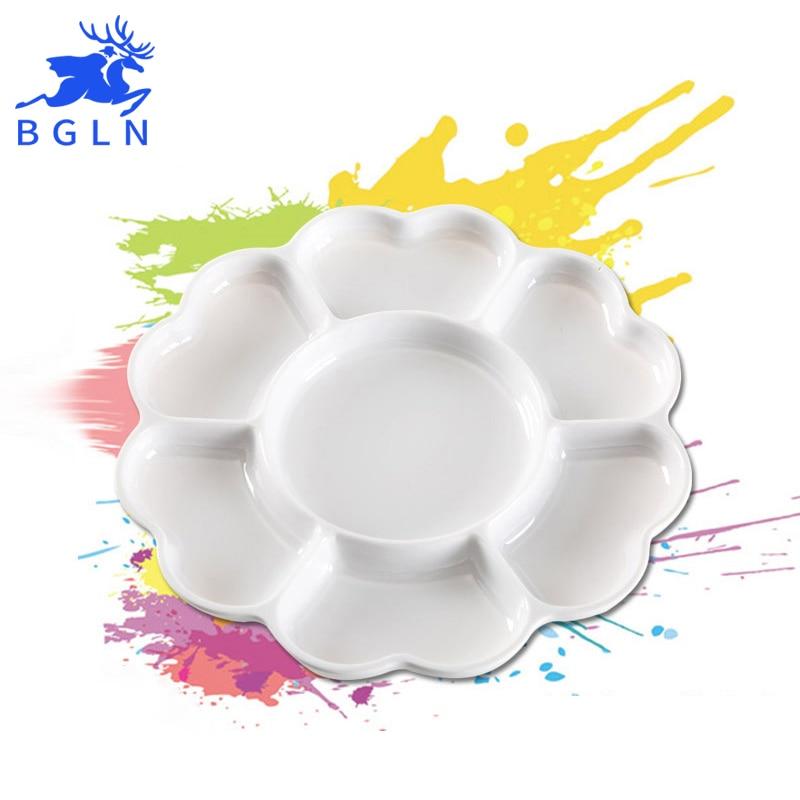 BGLN Large Ceramics-imitated Painting Palette Watercolor Painting Pigment Flower Shape Watercolor Paint Palette Art Suplies watercolor flower print cloth art