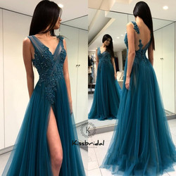 New Arrival Long Prom Dresses Appliqued Tulle Evening Dress Women Party Gown Sexy High Slit Backless