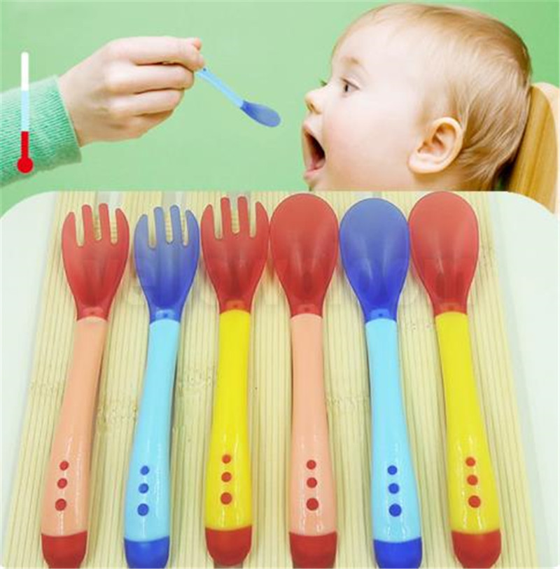 Baby Silicon Spoon Baby Safety Temperature Sensing Kids Children Flatware Spoons