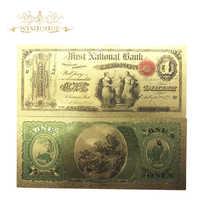 Lote de 10 billetes de oro de 1 dólar en oro de 24 quilates, billetes falsos de 1875 años para colección, 10 unidades