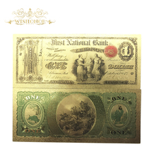 10pcs/lot Color USA Gold Banknotes 1 Dollar Banknote In 24k 1875 Years Fake Money For Collection
