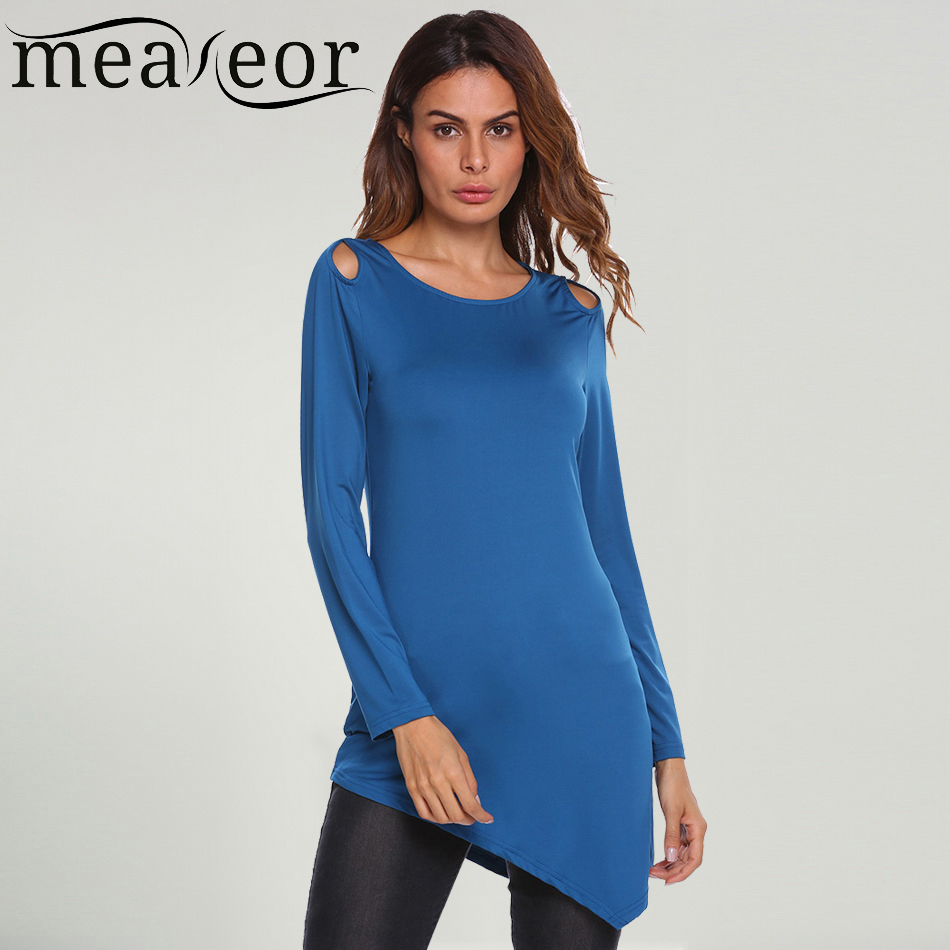 Meaneor long t shirt women 39 s asymmetric hem solid long for Long t shirts for ladies online