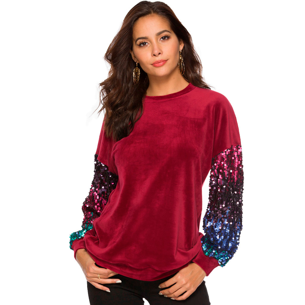 Fashion t shirt women Loose long sleeve shirt women Sequined Patchwork Casual  Tops streetwear korean clothes chemise femme