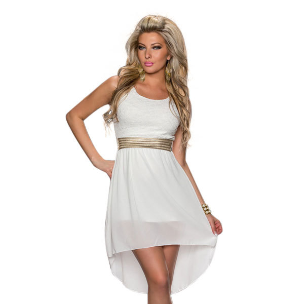Free Shipping Wholesale China Women Elegant Chiffon Party White Dress