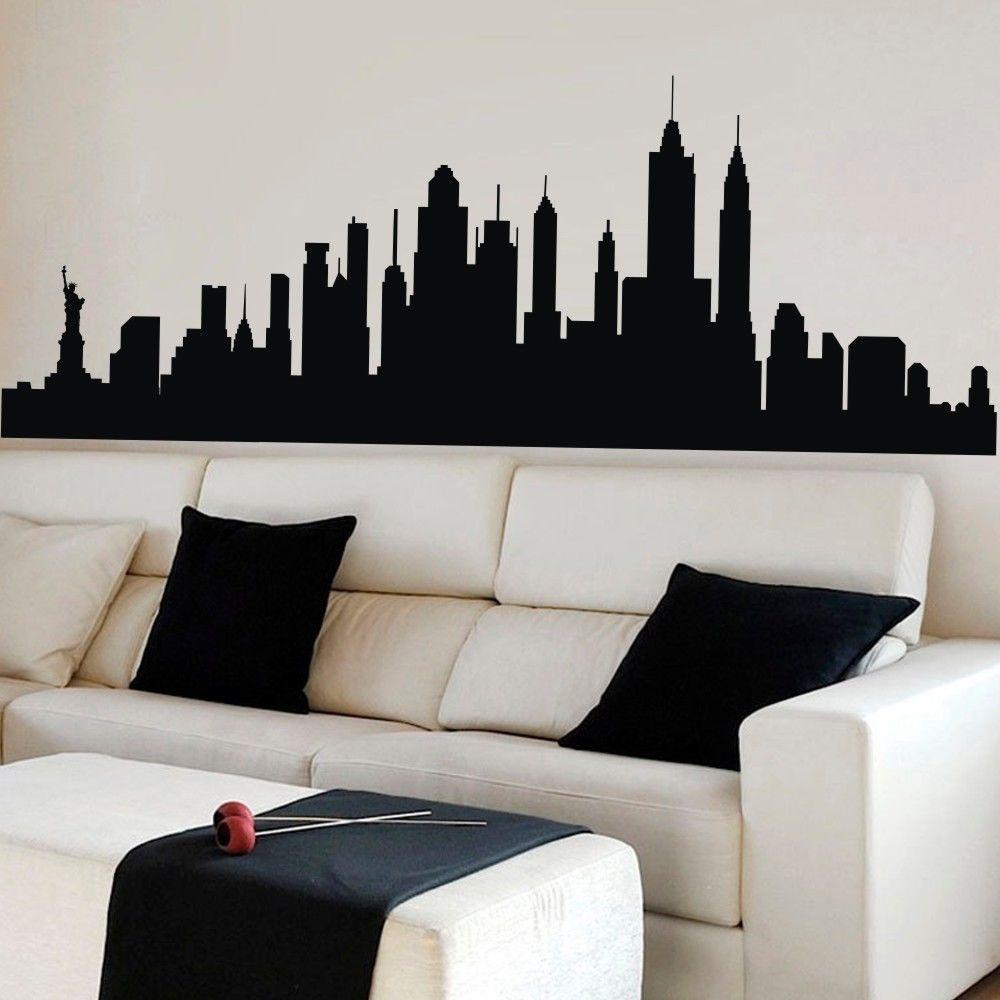 Adesivi Murali Skyline New York.Poomoo Stickers Murali New York Skyline Della Citta Silhouette