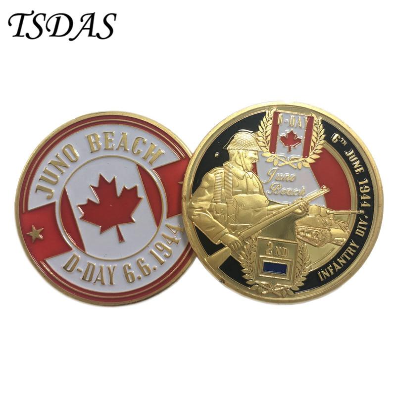Amerikai Egyesült Államok Aranyozott érmék Juno Beach D-nap 6.6.1944 Tervezés, katonai kihívás érmék Ingyenes szállítás 1db
