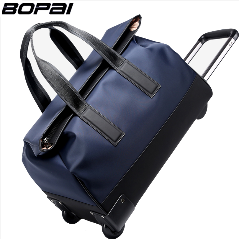 BOPAI Brand Men Trolley Travel Bags 18 Inch Large Capacity Handbags Travel Duffle Bag Waterproof Rolling Luggage Carry On Bags brand famous polo golf rolling wheeled trolley travel clothing bag import nylon pu large capacity handbag luggage bag