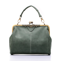 Brand New Vintage Bags Retro PU Leather Tote Bag Women Messenger Bags Gray Green Pink Blue
